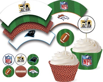 Superbowl 2016 Cupcake Wraps & Toppers