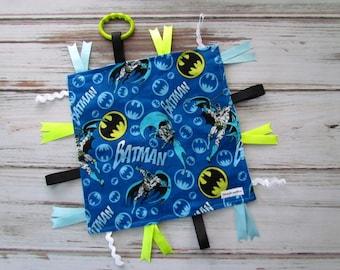 BATMAN DC Comics Flannel Lovey, Baby Batman Sensory Lovey, DC Comics Batman Flannel Lovey, Super Hero Batman Lovey Sensory Blanket