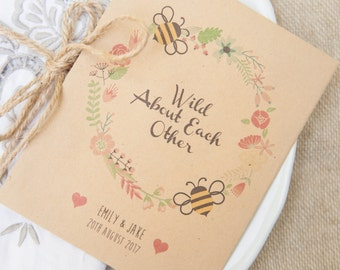 10 Wild About Each Other Personalised Seed Packet Favours