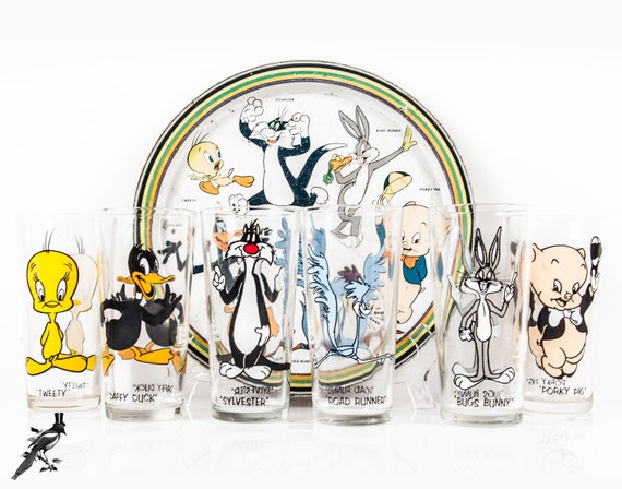 6 Vintage 1973 Pepsi Collector Glasses Tray Road Runner