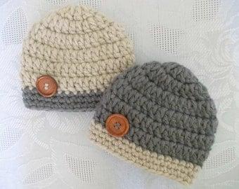 Twin hat set Boy twin hats Newborn twin hats Crochet twin hats Newborn twin outfits Twin boy outfits Twin boys hat set Newborn twin beanies