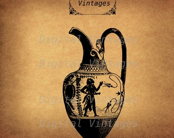 Antique Greek Vase Greece Clip Art illustration Vintage Digital Image Graphic Download Printable Clip Art Prints HQ 300dpi svg jpg png