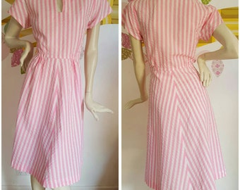 50% off with coupon SaleAGoGo  A Handmade Reproduction 1940s Candysripe dress with keyhole neckline