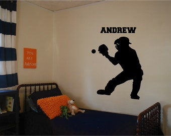 Baseball Catcher Wall Decal with Custom Name