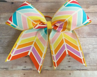 END of SEASON SALE! Bright Chevron Spring Summer Fun Cheer Bow
