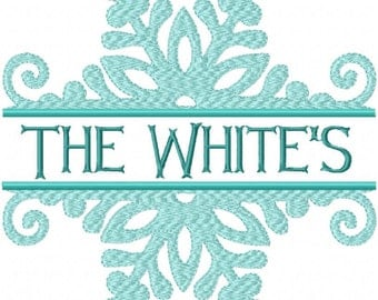 Machine Embroidery Design - Snowflake Split Name frame - comes in 3 sizes