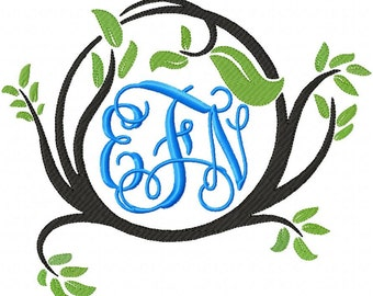 Machine Embroidery Design - Twig Monogram Frame - 3 sizes