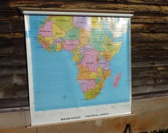 Vintage Africa Pulldown School Map