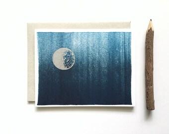 Letterpress Card - Silver Moon & Night Sky Ink Wash