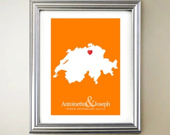 Switzerland Custom Vertical Heart Map Art - Personalized names, wedding gift, engagement, anniversary date
