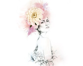 Kate Floral Fashion Illustration, Flowers Floral Crown, Home Decor, Wall Art, Illustration & Photography, SIGNED Giclee Print