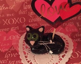 Kitty cat birthday handmade polymer clay caketopper cake topper wedding valentine catlover gift  kitten  charm sculpture art figurine