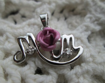 Handcrafted Beautiful 925 Sterling Silver Genuine Diamond Mom Dangle Pink Rose Pendant 1.9 Grams, Hallmarked 925
