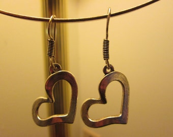 Vintage Tibetan Silver Large Heart Sterling Silver French Dangle Earrings, Weight 7.5 Grams, 1 IN x 1 IN Heart