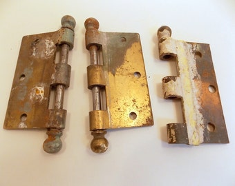 Vintage Hardware Door Hinges   3 Heavy Duty Brass Hinge Halves   Antique  Brass Hinges   Gate Hinge, Door Hinge   Vintage Home Decor