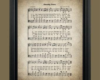 Amazing Grace Hymn Lyrics - Sheet Music Art - Hymn Art - Hymnal Sheet- Home Decor - Inspirational Art - Gift - Instant Download - #HYMN-017