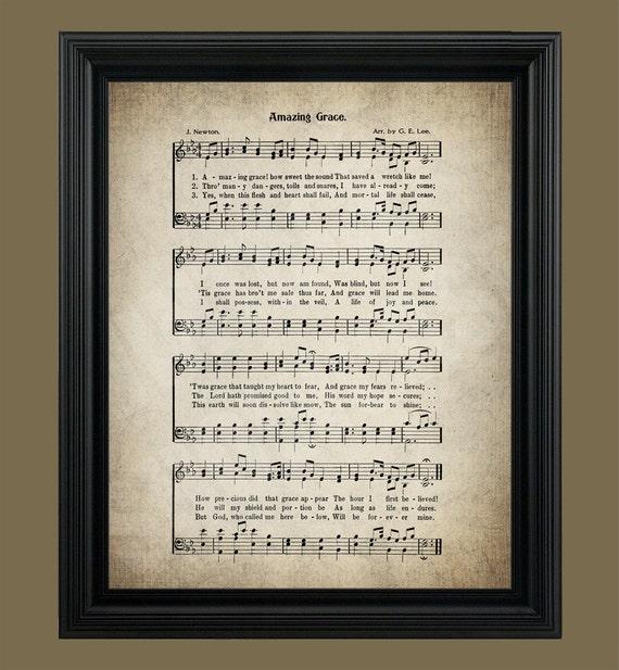 Amazing Grace Sheet Music With Lyrics: Amazing Grace Hymn Lyrics Sheet Music Art Hymn Art