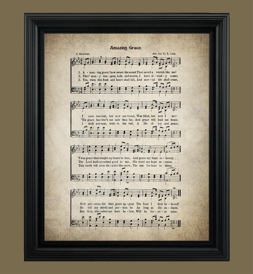 Amazing Grace Lyrics And Sheet Music: Amazing Grace Hymn Lyrics Sheet Music Art Hymn Art
