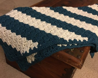Cream and Teal Striped Baby Blanket