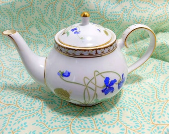 Porcelain Teapot purple blue violets Gold accents Dainty single serve Tea party tableware signed Nantucket sailboat stamp Mid Century decor