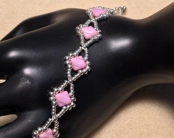 Pink Silky Beaded Bracelet
