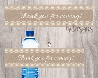 Burlap and Lace Water Bottle Label, DIY Instant Download, Baby Shower or Wedding Printable Bottle Label, Rustic Burlap and Lace Favor Label
