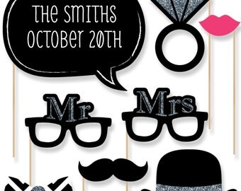 20 pc. Mr. & Mrs. - Silver - Wedding Photo Booth Props - Printed and Cut Kit with Mustache, Hat, Bow Tie, Glasses and Custom Talk Bubble