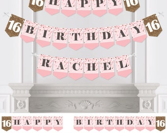 Sweet 16 Bunting Banner - Personalized Birthday Party Bunting Banner & Decorations - Teen Sweet Sixteen - Hanging Custom Party Décor