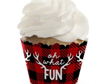 Prancing Plaid Cupcake Wrappers - Holiday Party Cupcake Decorations - Set of 12