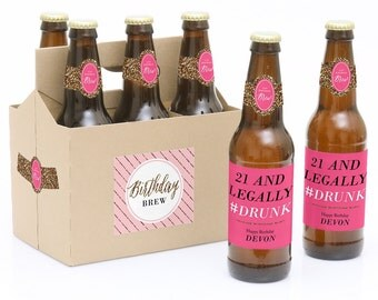 21st Birthday Beer Labels - 6 Beer Bottle Labels & 1 Carrier - Chic Funny 21st Birthday Gift for Her - Personalized Birthday Beer Kit
