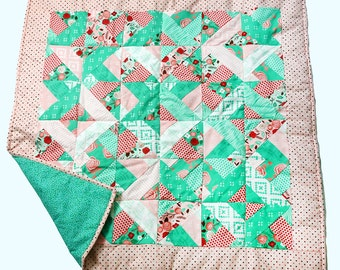 Pink and Green, Unique Geometric Design Quilt