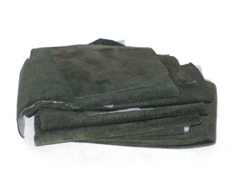 Leather Scraps - 9 oz - Genuine Suede Pieces - Dark Sage Forest Green - Upcycled with Facing - Leather Fabric