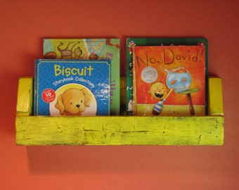 Wall Mounted Children's Book Display Shelf in Bright Distressed Yellow