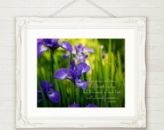 Inspirational artwork, Iris photography, Isaiah 40:8, Purple artwork, colorful artwork, bedroom decor, kitchen decor