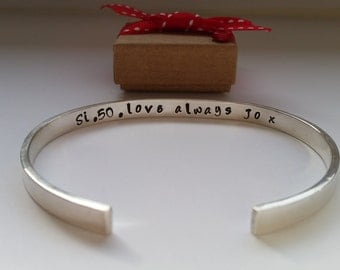Handmade Solid Silver Cuff Bangle  - Plain or personalised with a Name or Quote