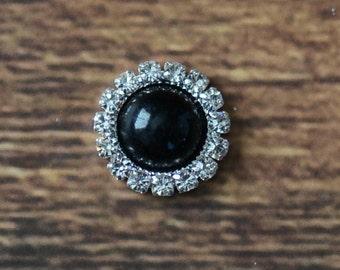 "0.6"" Pearl Rhinestone Buttons, Embellishments for Hairbows, DIY Craft Supplies, Pearl Rhinestone Flatbacks LOT OF 1 or 2 Black"