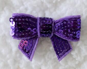 "1.5"" Applique Mini Sequin Bows, Embellishments for Baby Headbands, DIY Headband Supplies, Mini Applique Sequin Bow, Purple, Lot of 1 or 2"
