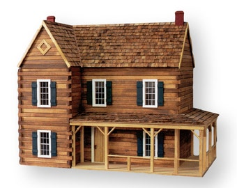 Dollhouse kit victoria 39 s farmhouse unfinished dollhouse for Log cabin kit homes victoria