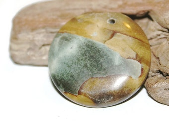 Picasso Jasper Pendant, Round Jasper Pendant, Earthy Jewelry Supplies, Earthy Pendant, Rustic Pendant, Pendant Necklace, Stone Pendant