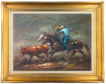 Oil Painting of Western Cowboys Wrangling Cattle, 20 X 24 in Copper or Gold Frame