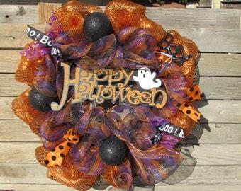 """24"""" Happy Halloween Wreath Happy Halloween Deco Mesh Wreath Ghost Mesh Wreath Happy Halloween Door Decor Boo Wreath Boo Deco Mesh Wreath"""