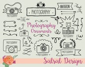 Photography Clip art Set - Hand Drawn Camera, Wreaths and Flowers Vector Clipart - Photography Design Elements - Instant Download -VG013