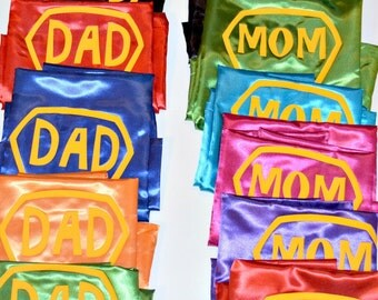MOM or DAD Superhero Cape. Super Mom Cape. Super Dad Cape. Your Choice! Adult Superhero Cape. Mom Costume. Dad Costume. Dressup Play.