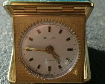 Vintage Deluxe 7 Jewel Travel Alarm Clock made in Germany
