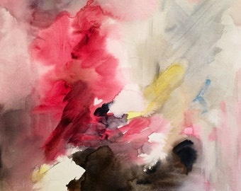 """Original Framed Abstract Watercolor Framed Painting """"Can-Can"""""""