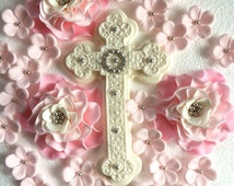 Christening cake topper, 28 pcs edible pink fondant flower and large shimmer cross silver decorations baptism first communion girl