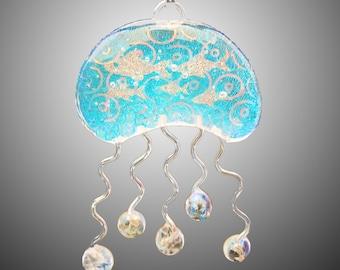Dichroic Glass Jellyfish Pendant
