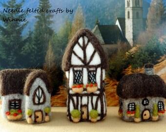 Needle felted Tudor style houses set of 3 handmade