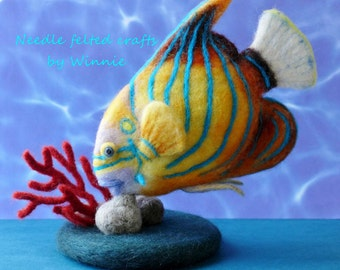Blue ringed Angelfish Needle felted fish handmade wool art OOAK