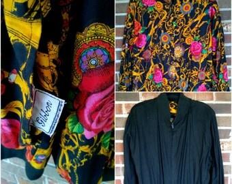 Super Cool Reversible Black and Pattern Urban Hip Hop Jacket, M/L